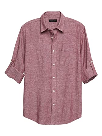 60de47df Banana Republic Mens Short Sleeve Red Slim-Fit Red Linen Blend Button Down  Shirt (