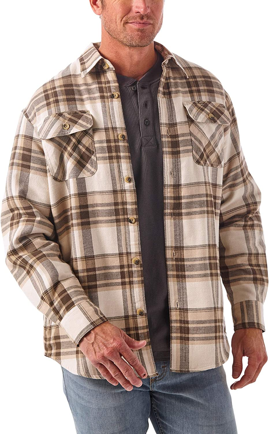 Wrangler Authentics Men's Long Sleeve Sherpa Lined Shirt Jacket at  Men's Clothing store