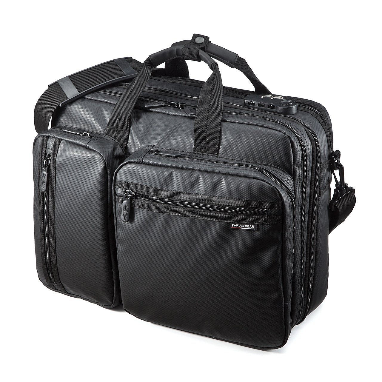 well-wreapped SANWA 3-in-1 Laptop Briefcase, 15.6 inch Expandable Business Bag, Water Resistance, Hand/Shoulder/Backpack, For Macbook Dell Hp Acer Asus Lenovo, For Men/Women, Business Travel, Black, BAG048WP