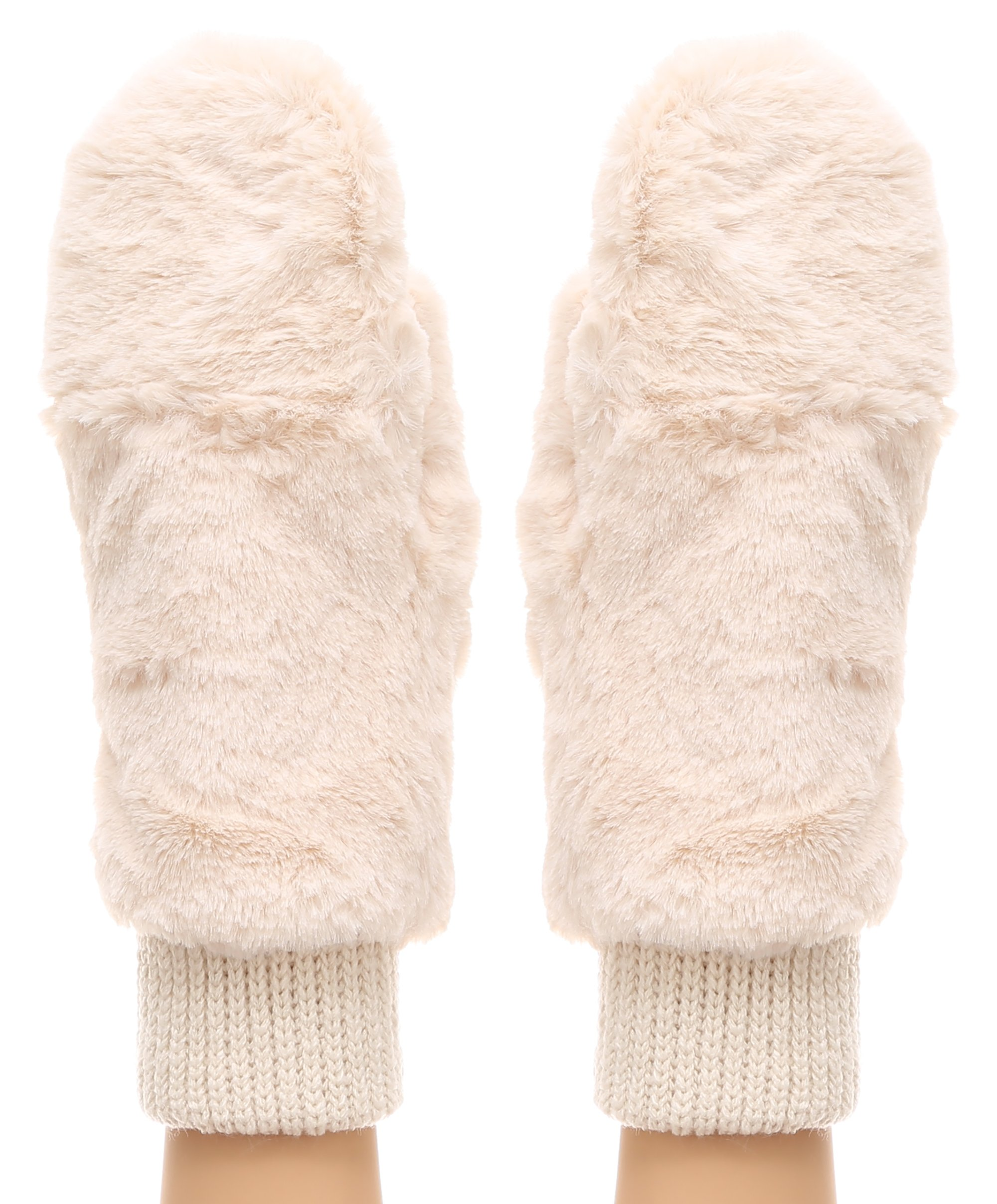 MIRMARU Women's Winter Fully Lined Faux Fur Flip Cover Mitten Gloves.(Ivory)