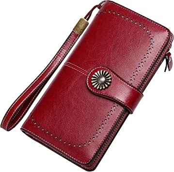 Mens Tri-Fold Mahogany Deep Brown Red Genuine Leather Wallet with card Holder