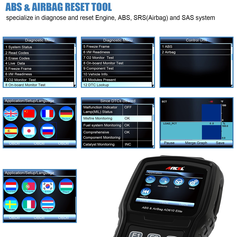 Amazon.com: ANCEL AD610 Elite Automotive OBD II Car Code Reader ...