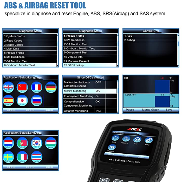 ANCEL AD610 Elite is the one of the best OBD2 Scanners with ABS and SRS on the market.