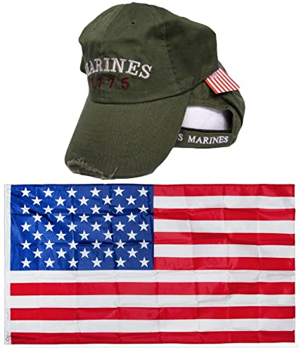 34ee5cc598c USMC Marines Marine Corps Olive Drab 1775 Washed Distressed Embroidered Hat  Cap   USA Flag 3x5