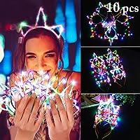 10 diademas de unicornio con luces LED