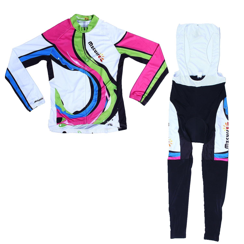 Mzcurse Women's Long Sleeve Cycling Jersey Shirts + Compression Bib Pants Set