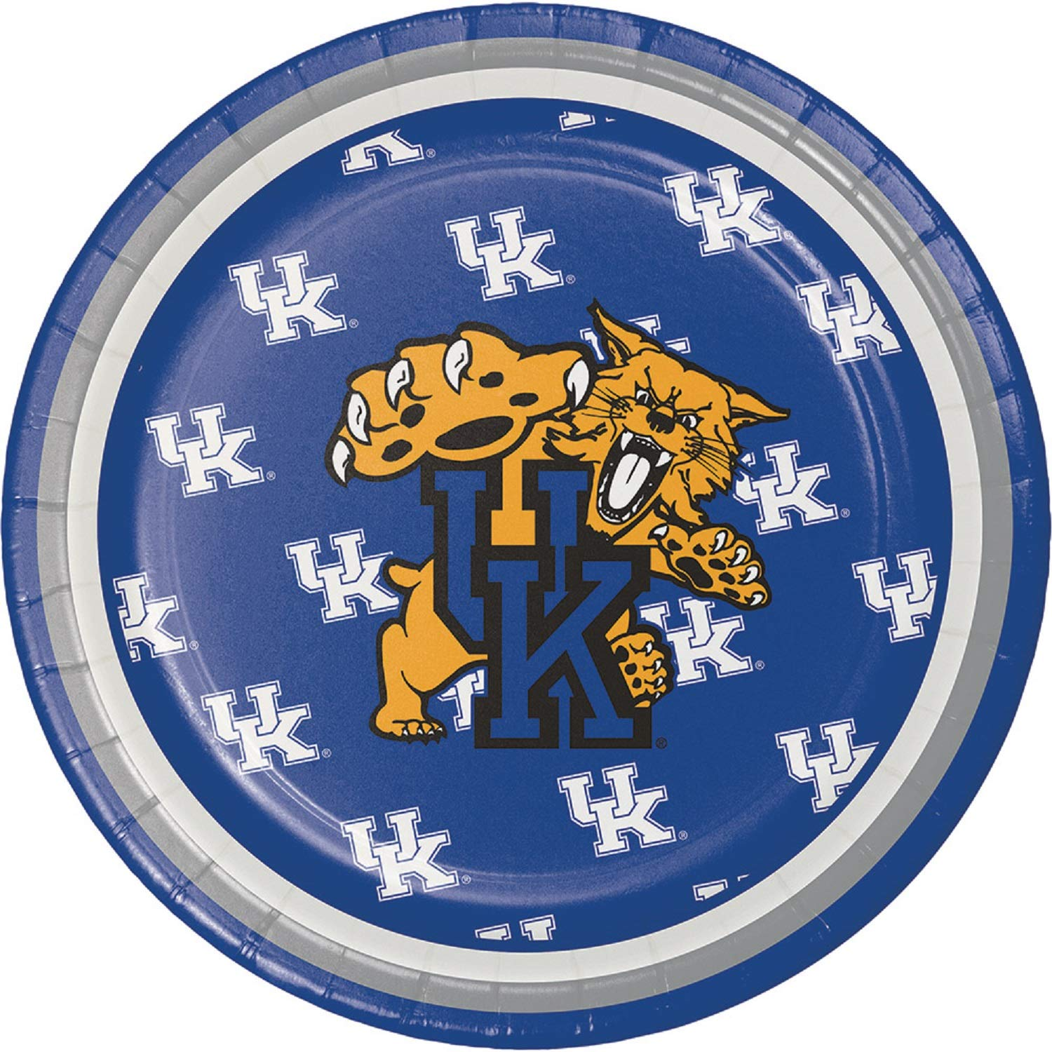 Club Pack of 96 Blue and Gold Plastic Party Luncheon Plates 7''