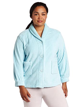 2802e529dfb13 Casual Moments Women s Plus Size Shawl Collar Bed Jacket at Amazon ...