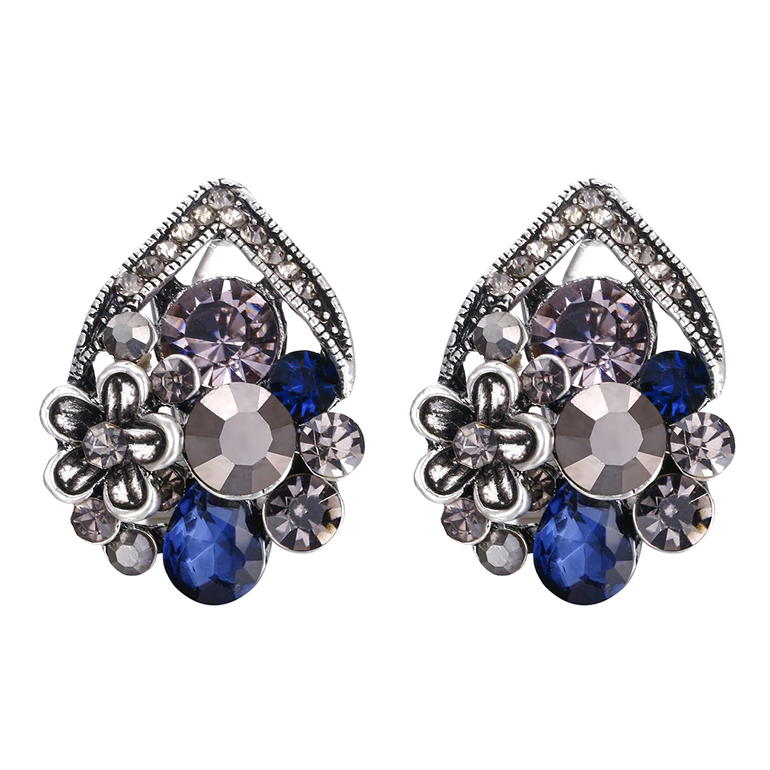 EVER FAITH Crystal Vintage Inspired Flower Leaf Stud Earrings for Prom Ball Bride