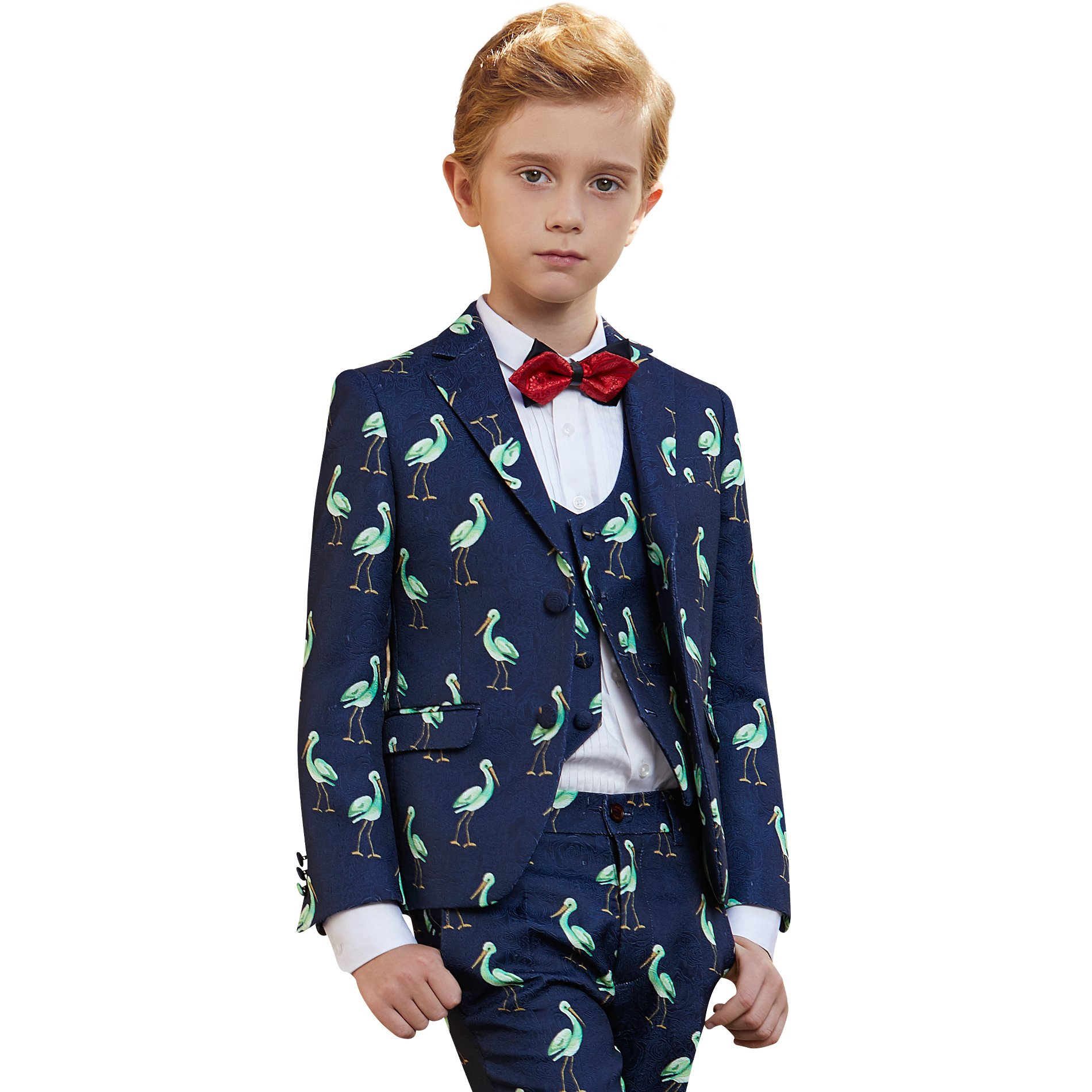 ELPA ELPA Boys Slim Fit 8 Piece Suits Formal Outfit Creative Design Dress Set Green Embroidery Blazer White Vest Pants (8)