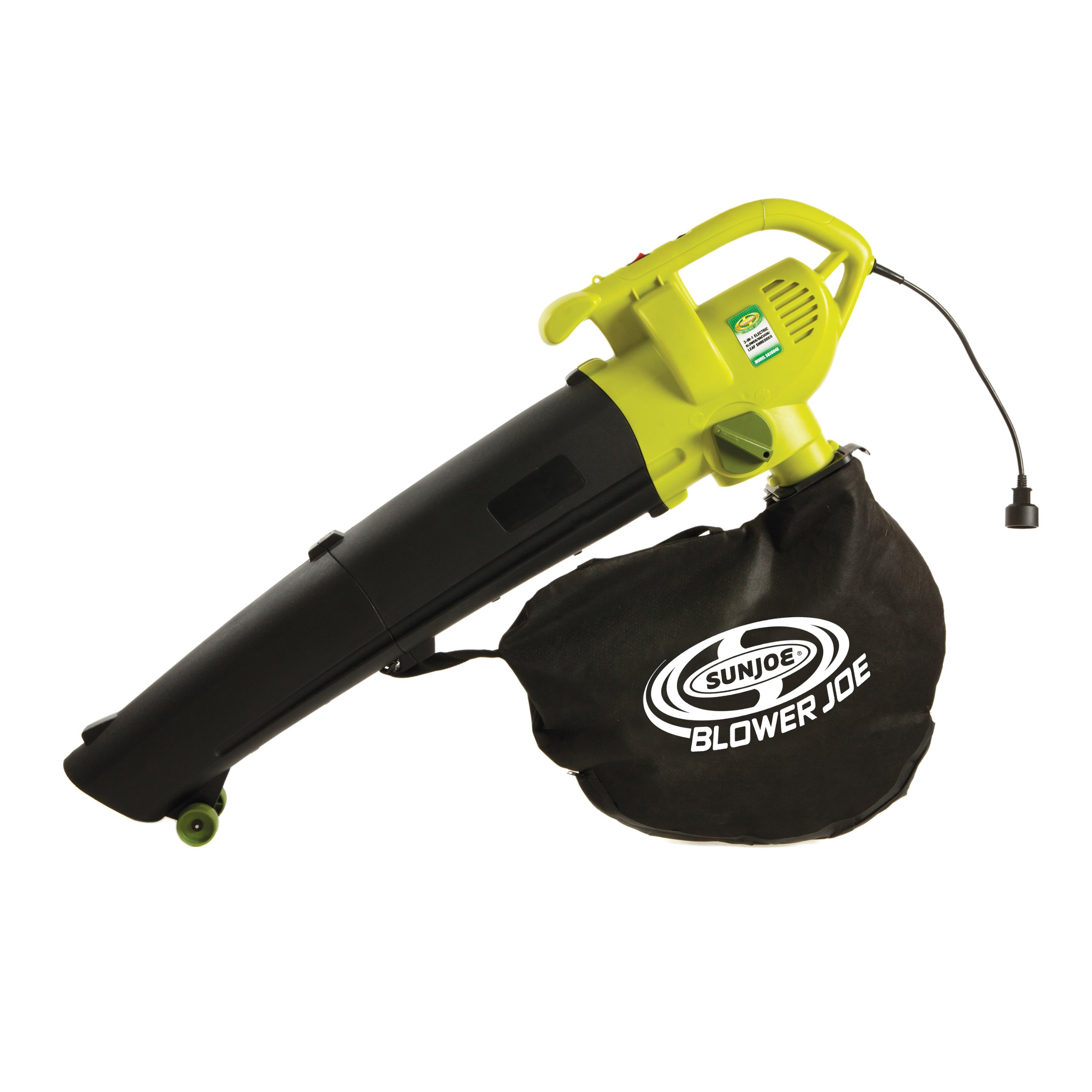 Sun Joe SBJ604E Blower Joe Electric Blower, Vacuum and Leaf Shredder, Lime