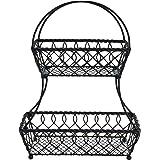 Gourmet Basics by Mikasa 5169089 Loop and Lattice 2-Tier Metal Fruit Storage Basket, Antique Black