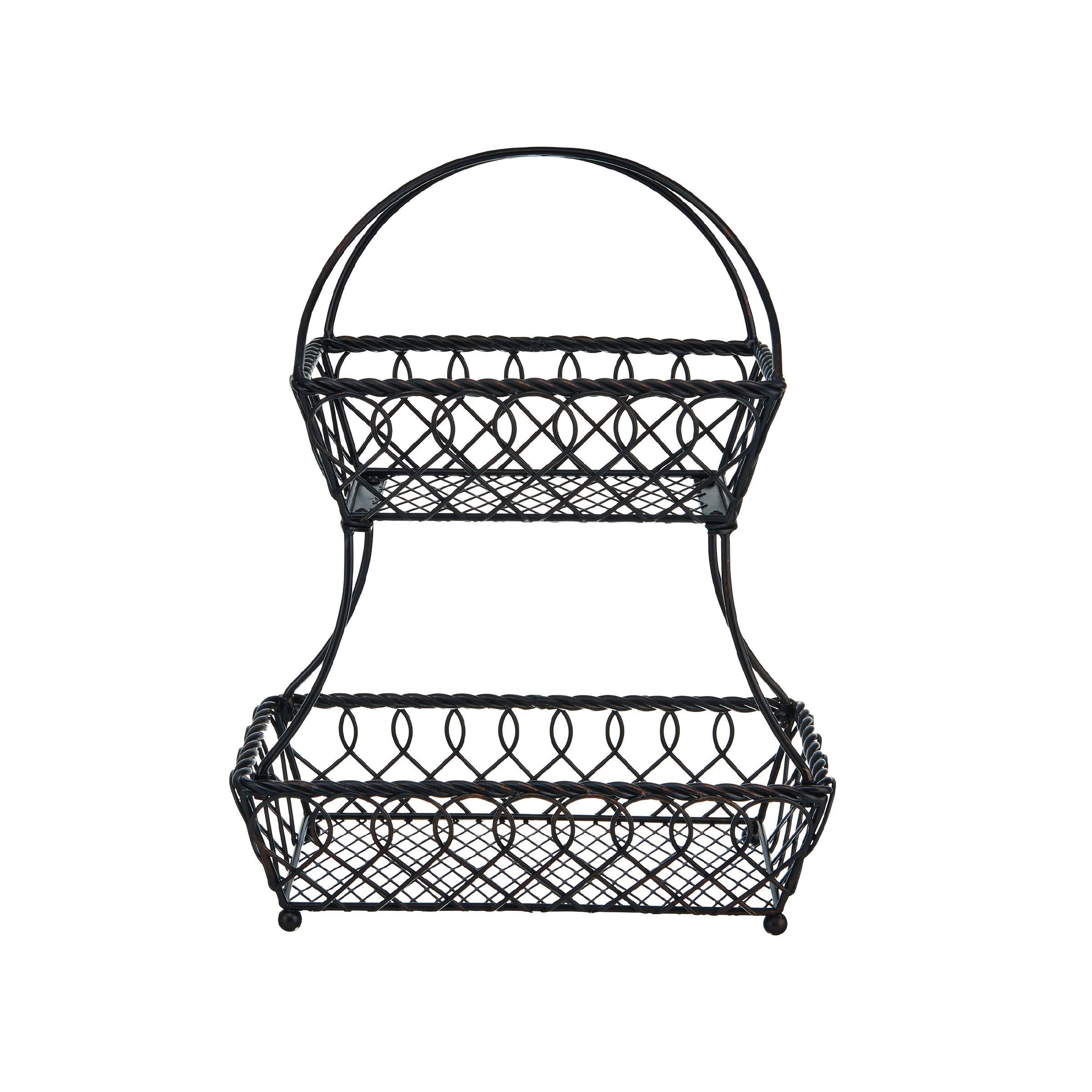 Gourmet Basics by Mikasa 5169089 Loop and Lattice 2 Metal Fruit Storage Basket, 2 Tier, Antique Black