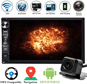 """7"""" Touchscreen Double 2 Din Car Navigation Stereo Radio Android with Bluetooth Mirrorlink WiFi AM/FM/USB GPS SWC Subwoofer with Rear View Camera for Ford F-150 2005 2006 2007 2008"""