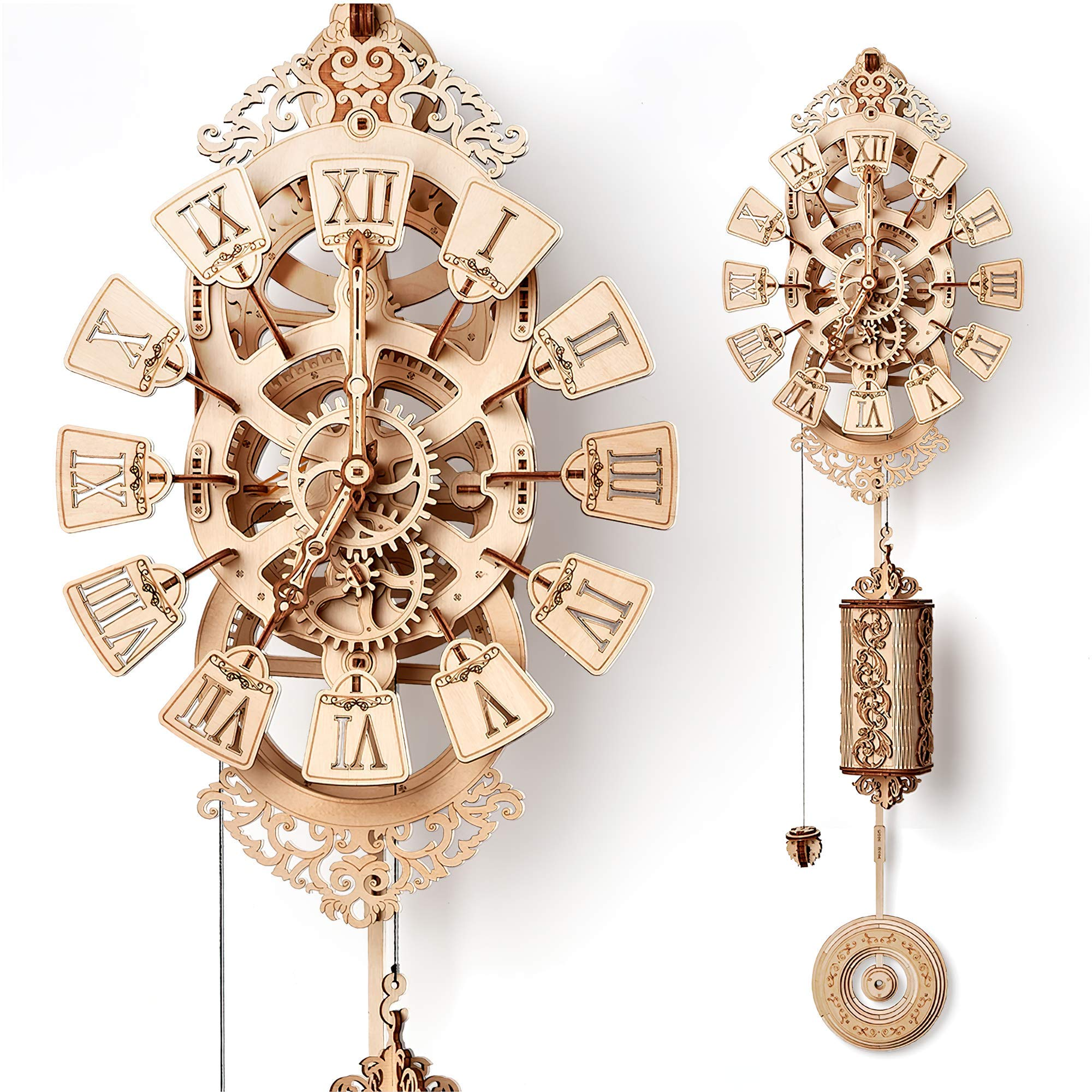 Wood Trick Pendulum Wall Clock Kit, Wooden DIY Wall Clock Big - No Batteries - 3D Wooden Puzzle, Brain Teaser for Adults and Kids - 3D Wall Clock Mechanical Model by Wood Trick