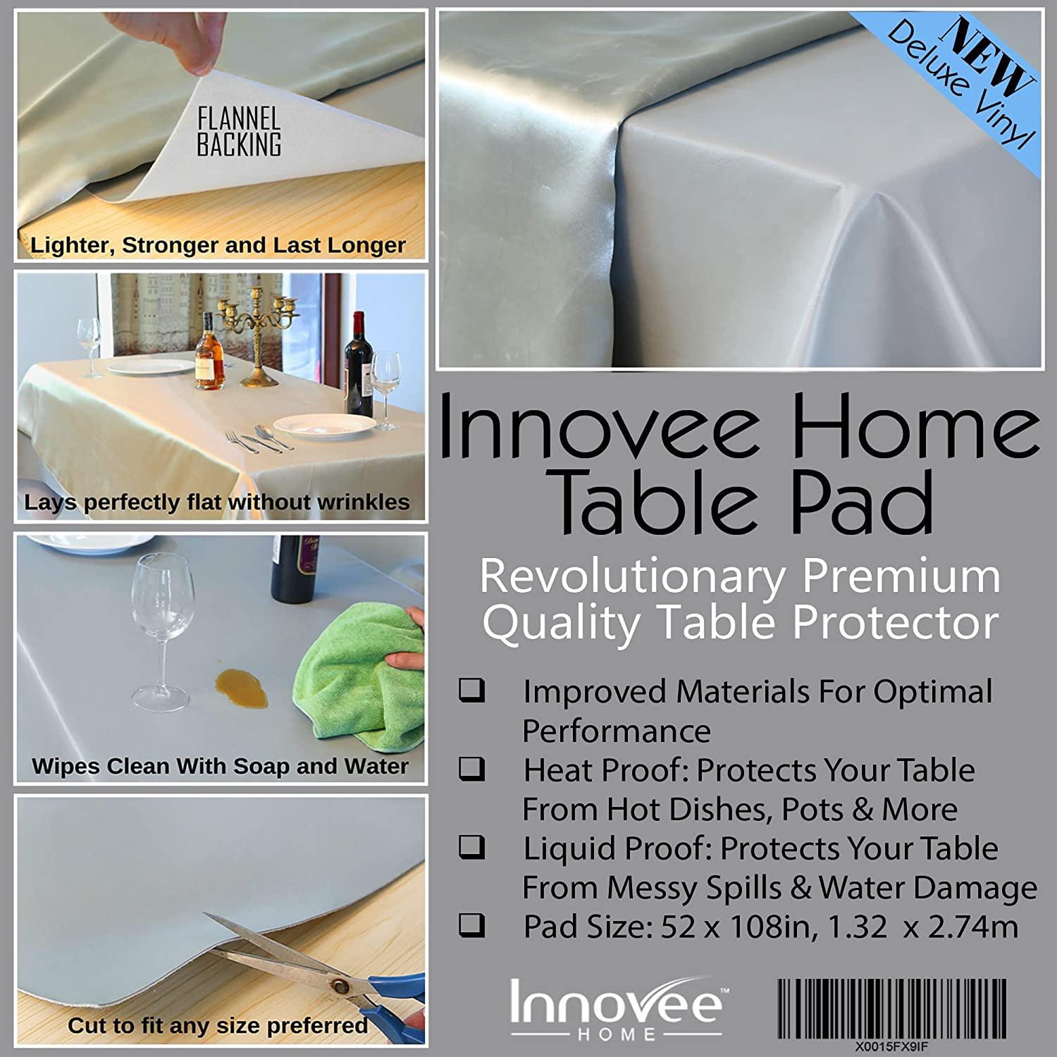 Innovee Revolutionary Table Pad   Protects Table From Spills U0026 Heat   52 X  108 Inch Premium Table Protector   Flannel Backing   Lies Flat   Cut To Fit  Any ...