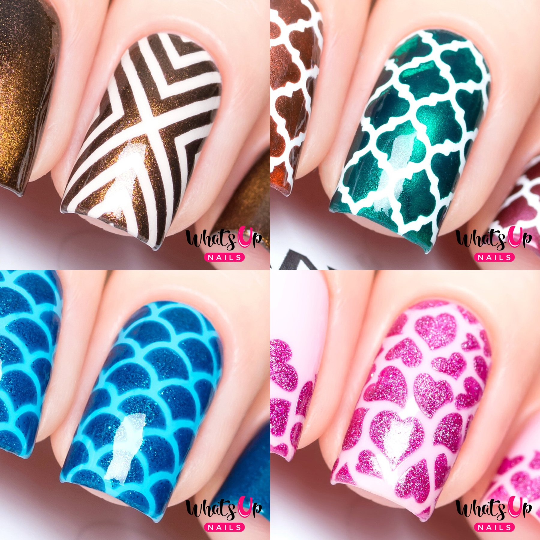 Whats Up Nails - Nail Vinyl Stencils Variety Pack 4pcs (X-pattern, Moroccan, Scales, Hearts) for Nail Art Design by Whats Up Nails