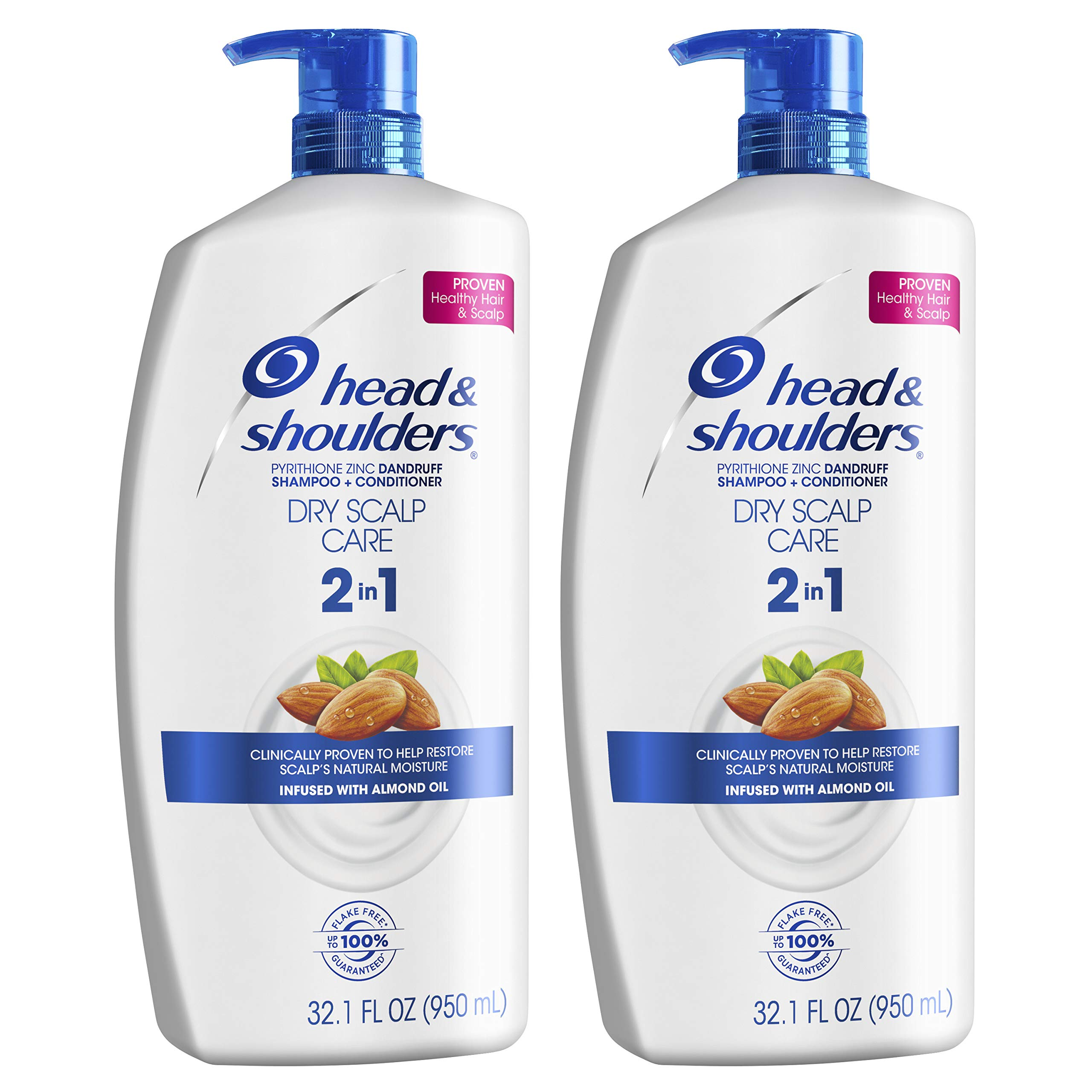 Head and Shoulders Shampoo and Conditioner 2 in 1, Anti Dandruff Treatment, Dry Scalp Care, 32.1 fl oz, Twin Pack by Head & Shoulders