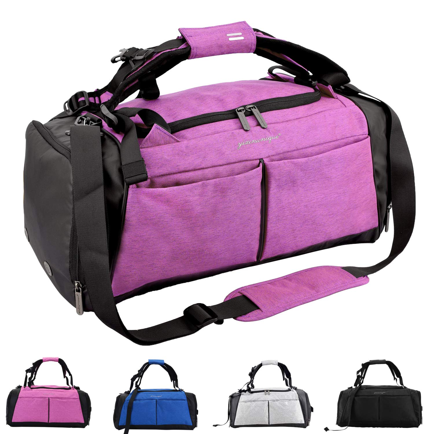 Pink Gym Bag, Sports Duffel Bag with shoes Compartment & Wet Pocket Waterproof for Men and Women 40L
