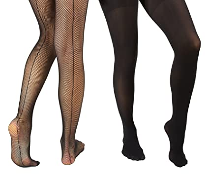 e173ce4e6ee Marilyn Monroe Womens Ladies 2Pack Black Fishnet Tights With Solid Opaque  1X 2X