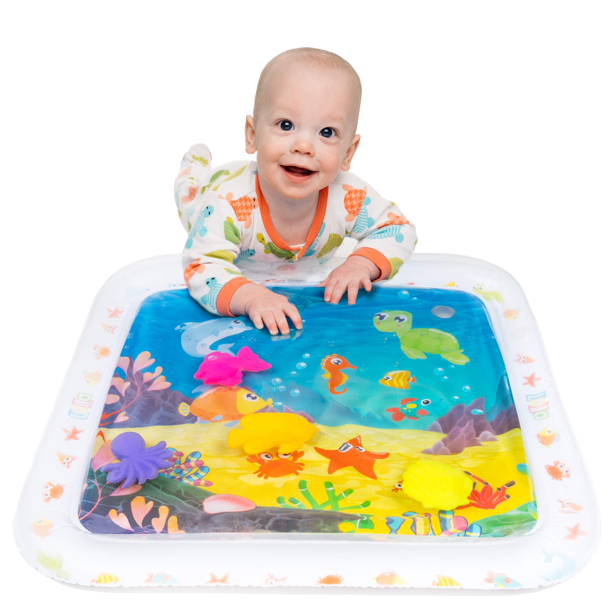 Lella Baby & Toddler Toys - Inflatable Tummy Time Water Play Mat - Sensory Developmental Activity and Play Center - Perfect for Baby, Infant and Toddlers Growth and Stimulation - BPA Free