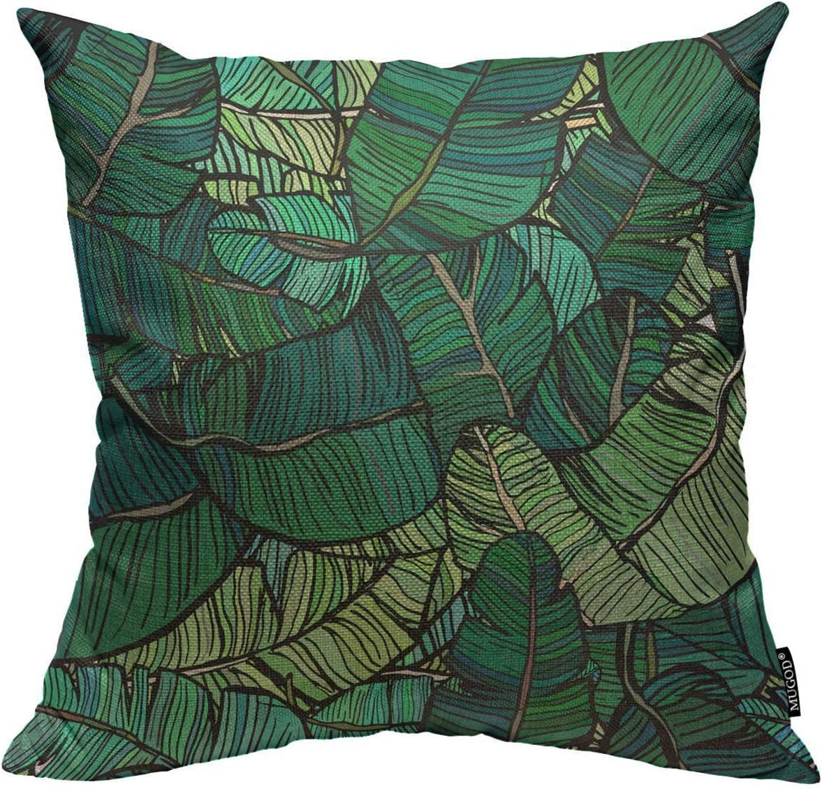 DeeDaa Throw Pillow Cover Banana Tree Leaves Green Colourful Palm Retro Style Aloha Blooming Bold Home Decor Square Pillow Case for Men Women Bedroom Livingroom Cushion Cover 18x18 Inch