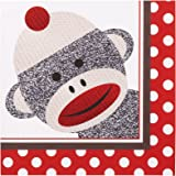 Sock Monkey Party Supplies - Lunch Napkins (20)