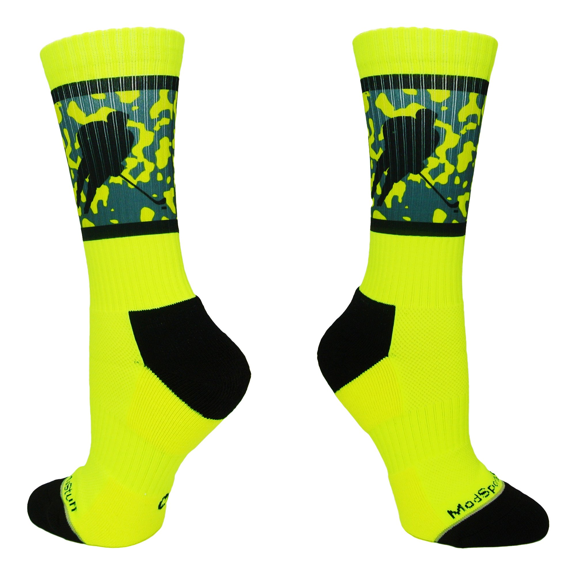 MadSportsStuff Hockey Player Crew Socks (Neon Yellow/Black, Large)