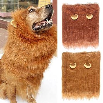 Pawaca Peluca de león realista y divertida para perros perros de tamaño mediano a grande,