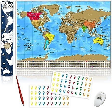 Mapamundi Para Rascar. Mapa del Mundo Rascable con Estados y Ciudades de los Estados Unidos. Rasca y Haz un Seguimiento de los Países Visitados. 84,1 x 59,4 cm: Amazon.es: Hogar