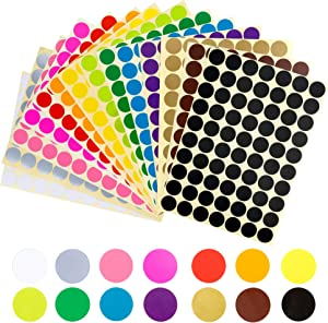 "3920 pcs 3/4"" Round Coding Circle Dot Labels, 14 Colors"
