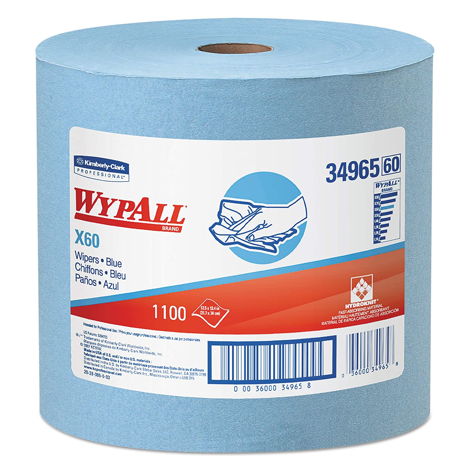 Wypall X60 Reusable Cloths (34965), Blue, Jumbo Roll, 1100 Sheets / Roll, 1 Roll / Case
