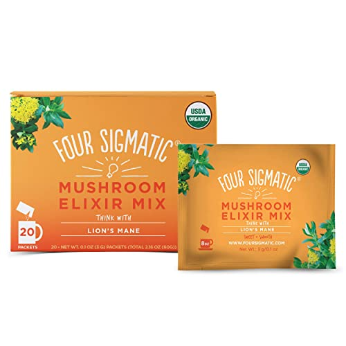 Four Sigmatic Lion s Mane Mushroom Elixir, Organic Lion s Mane Mushroom Powder with Rhodiola Rose Hips, Immune Memory Support, Paleo, Pack of 20