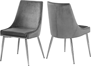 "Meridian Furniture Karina Collection Grey Modern | Contemporary Velvet Upholstered Dining Chair with Polished Chrome Metal Legs, Set of 2, 19.5"" W x 21.5"" D x 33.5"" H,"