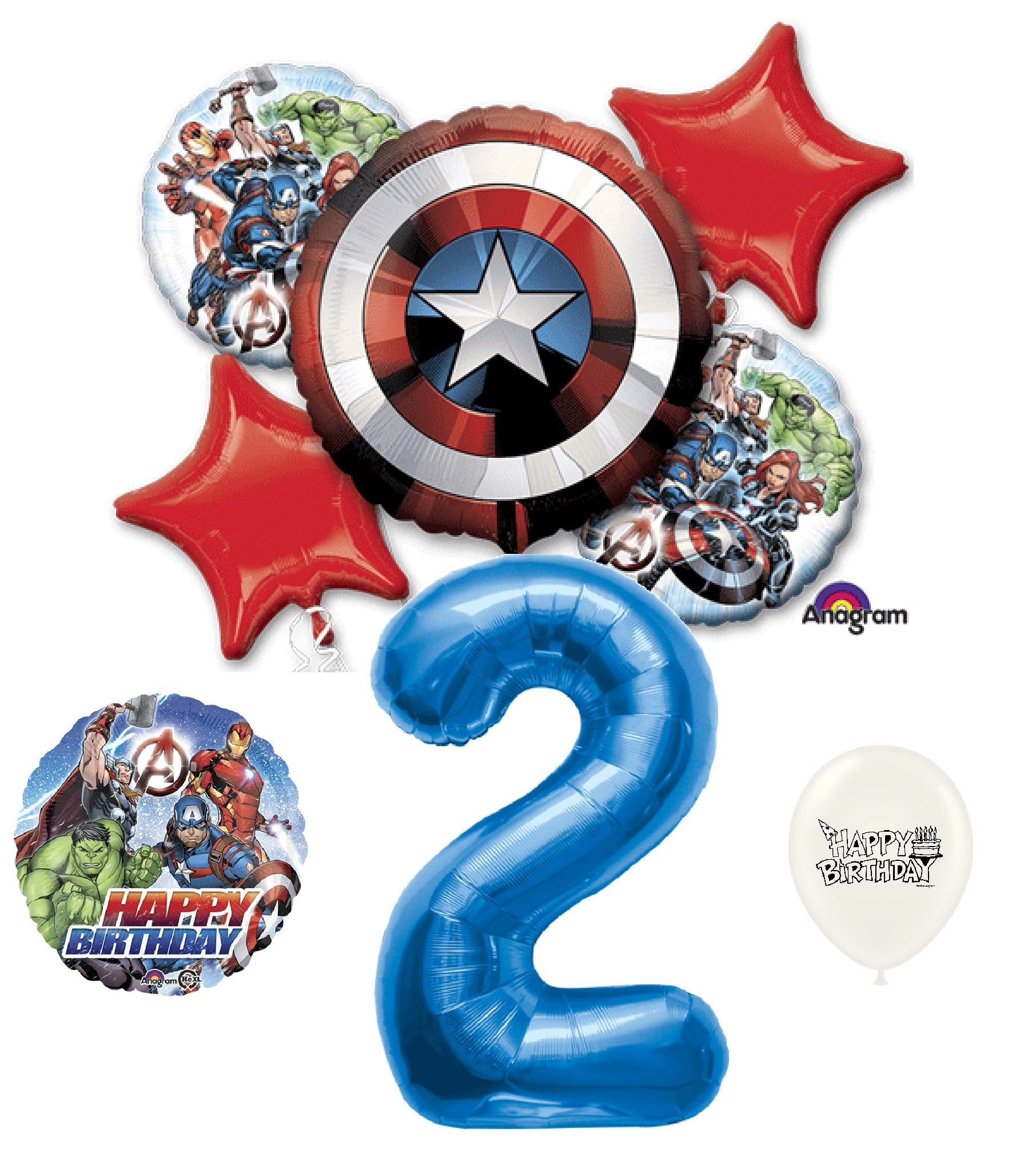 2nd Birthday Blue Number Avengers Captain America Shield Balloons Bouquet Bundle