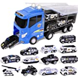 "FUN LITTLE TOYS 12 in 1 Die-cast Police Car Toy, Police Transport Car Carrier Toy for Boys & Kids, 16"" Truck Toy with Police"