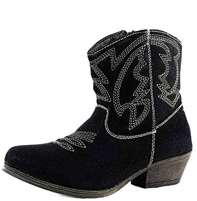 Women's Stitched Western Cowboy Stacked Heel Distress Embroidered Ankle Booties Fashion Shoes
