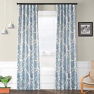 HPD Half Price Drapes BOCH-KC16072-108 Blackout Room Darkening Curtain (1 Panel), 50 X 108, Tea Time China Blue
