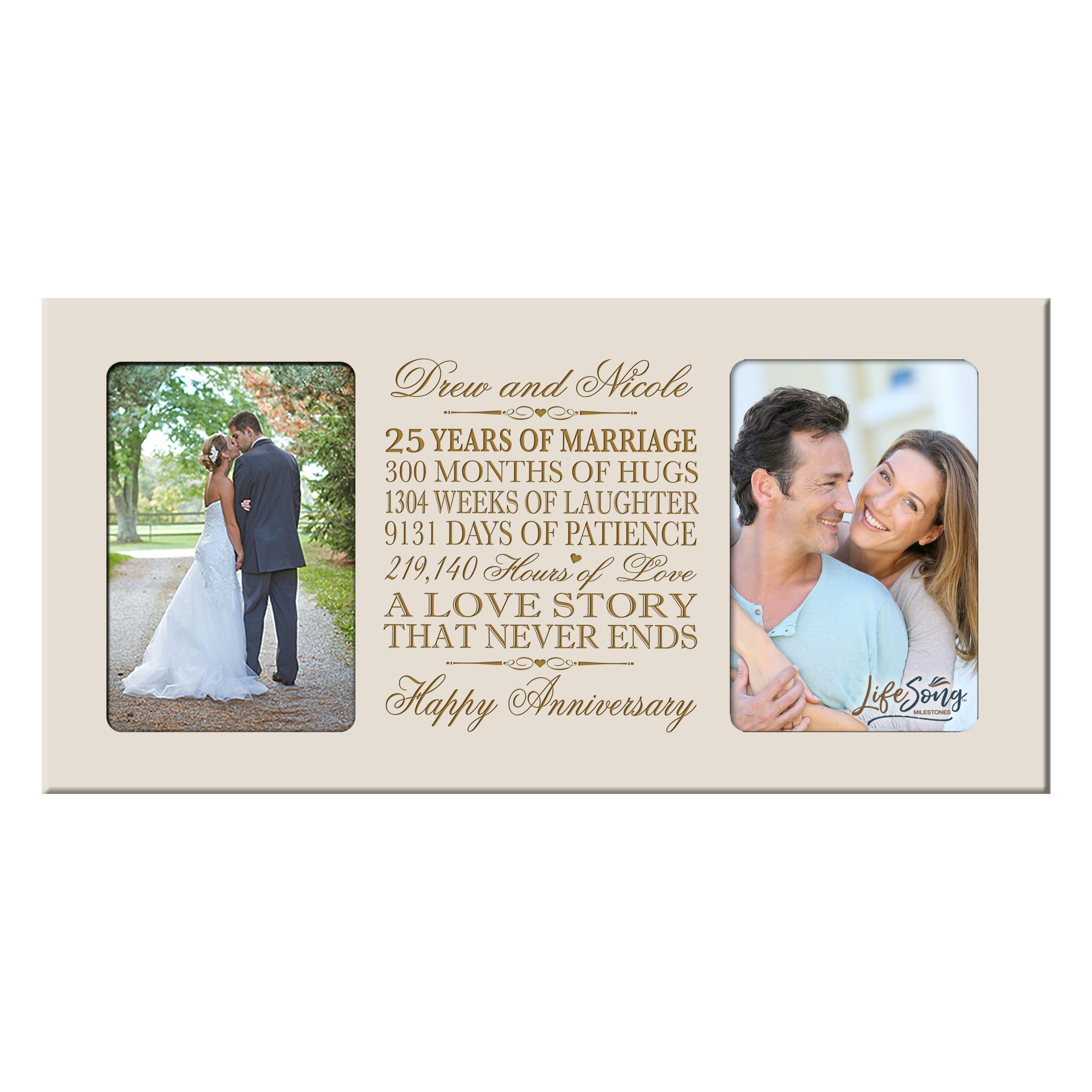 LifeSong Milestones Personalized 25 Year her him Couple Custom Engraved Wedding Celebration for Husband Wife Girlfriend Boyfriend Photo Frame Holds Two 4x6 Photos (Ivory)