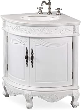 Benton Collection Antique White Bay View Corner Bathroom Sink Vanity Model Bc030w Aw Vanity Cabinet With Sink