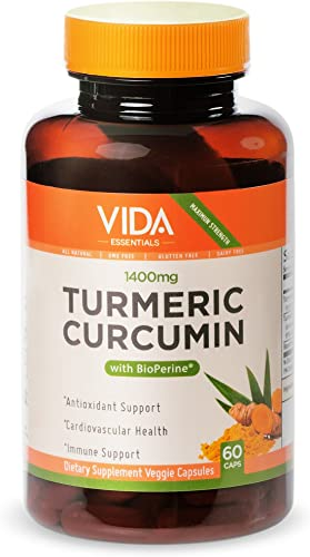 Turmeric Curcumin with Bioperine 1400 mg Joint Pain Relief, Anti-Inflammatory, Antioxidant Supplement 60 Vegan Caps – 100 All Natural Made in USA