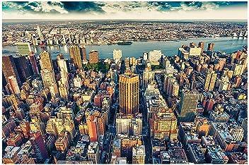 great-art Fototapete New York City Skyline Sonnenuntergang -336 x 238 cm 8-Teillige Tapete Wandtapete Manhattan USA NYC Wandbild