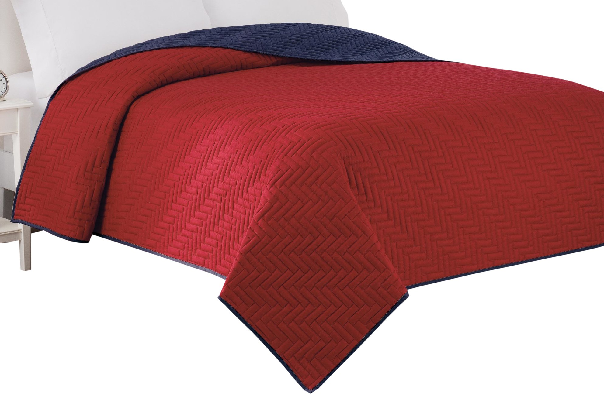 Martex 028828367518 Coverlet, Twin, Red/Navy