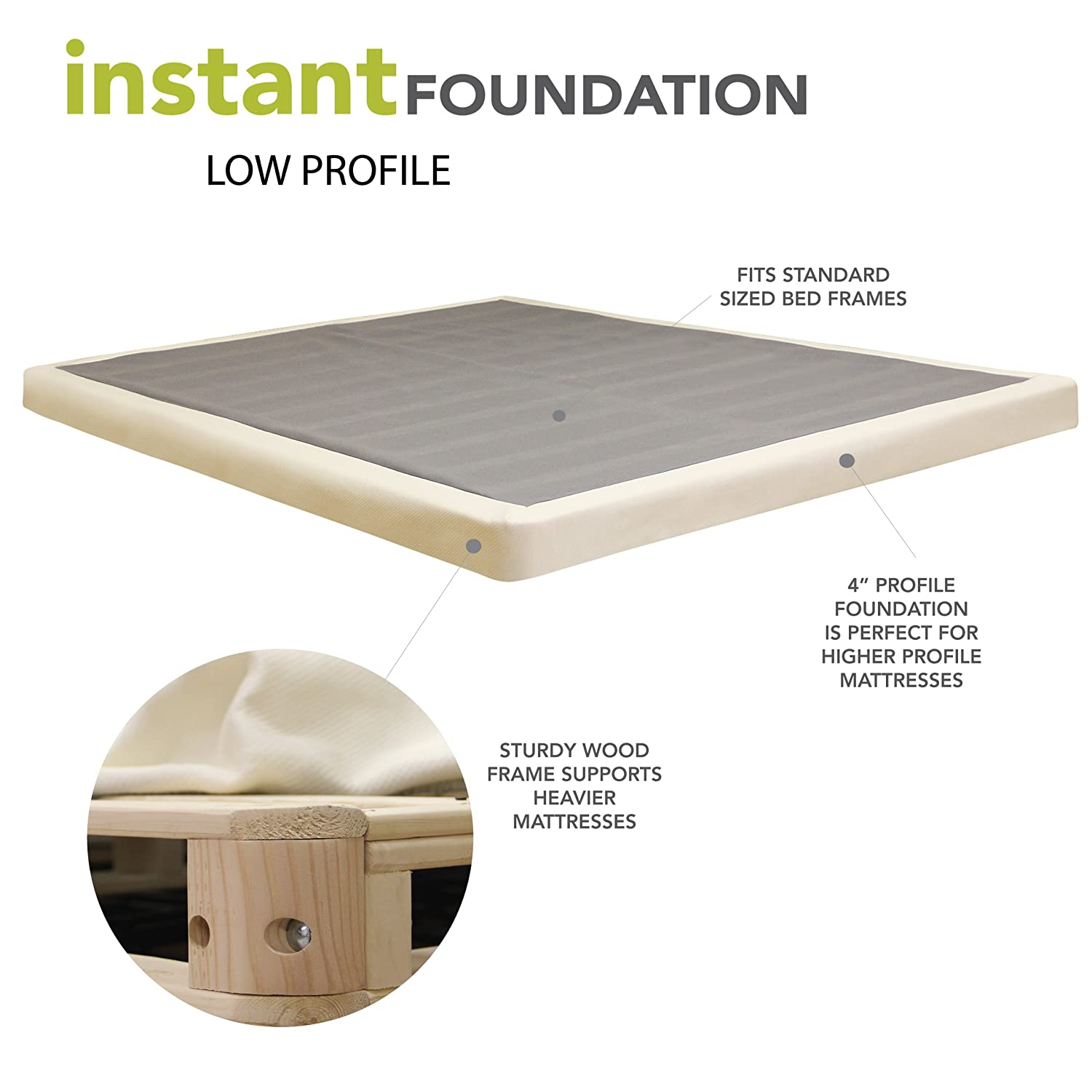 Classic Brands 4 Inch Instant Foundation Low Profile Foundation or Box Spring Replacement