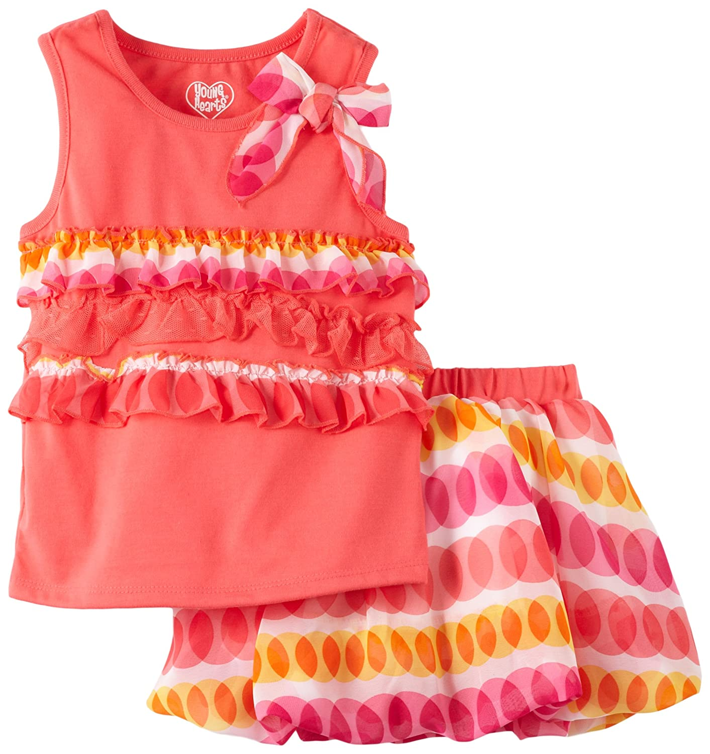 Young Hearts Little Girls 2 Piece Scooter and Tank Top with Tack Bow