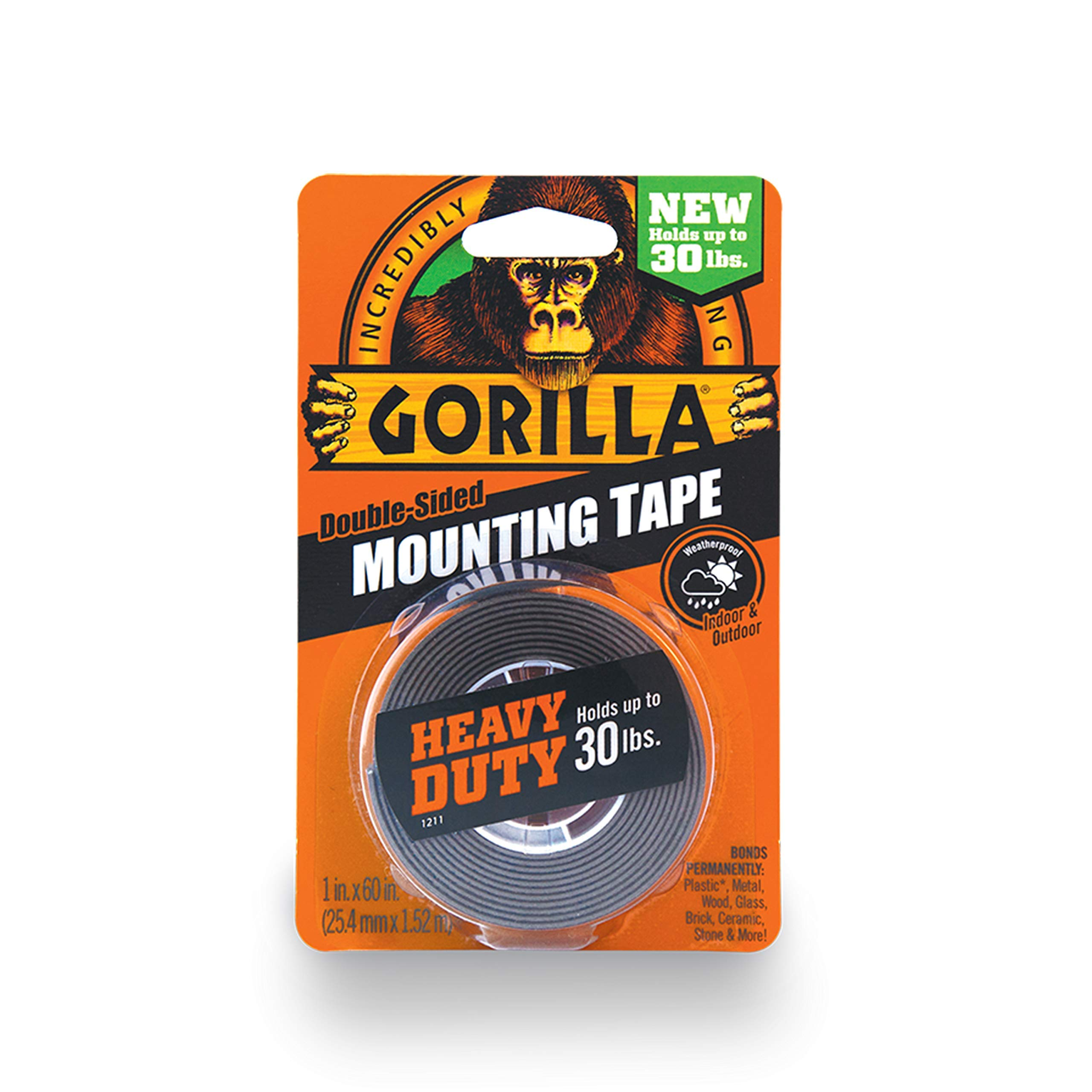 Gorilla Heavy Duty Double Sided Mounting Tape, 1 Inch x 60 Inches, Black [New Improved Version]