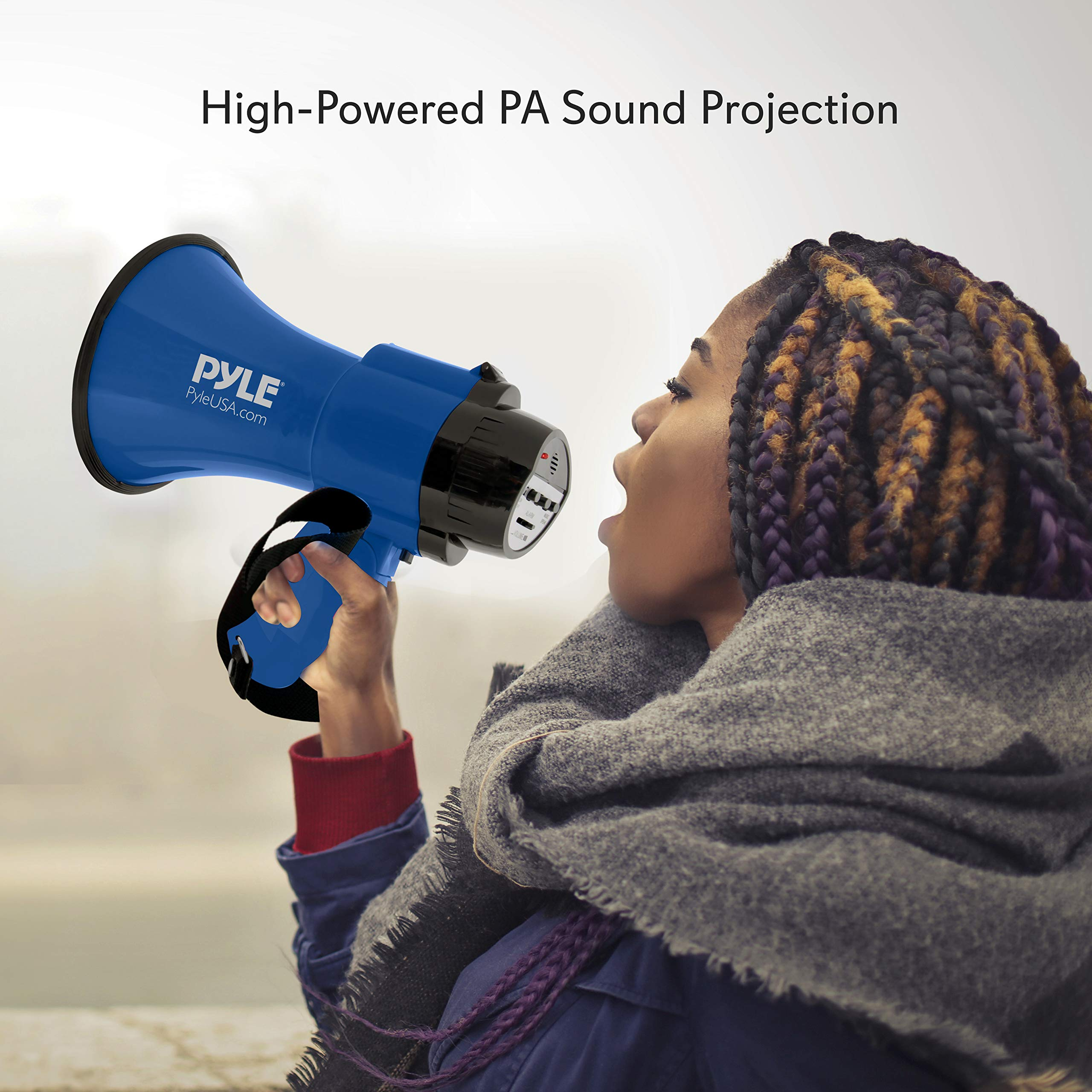 Portable Megaphone Speaker Siren Bullhorn - Compact and Battery Operated with 30 Watt Power, Microphone, 2 Modes, PA Sound and Foldable Handle for Cheerleading and Police Use - Pyle PMP31BL (Blue) by Pyle (Image #6)