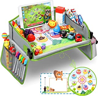 KKmoon Multifunctional Vintage Safe Waterproof Table Kids Snack Play Travel Tray for Car Backseat