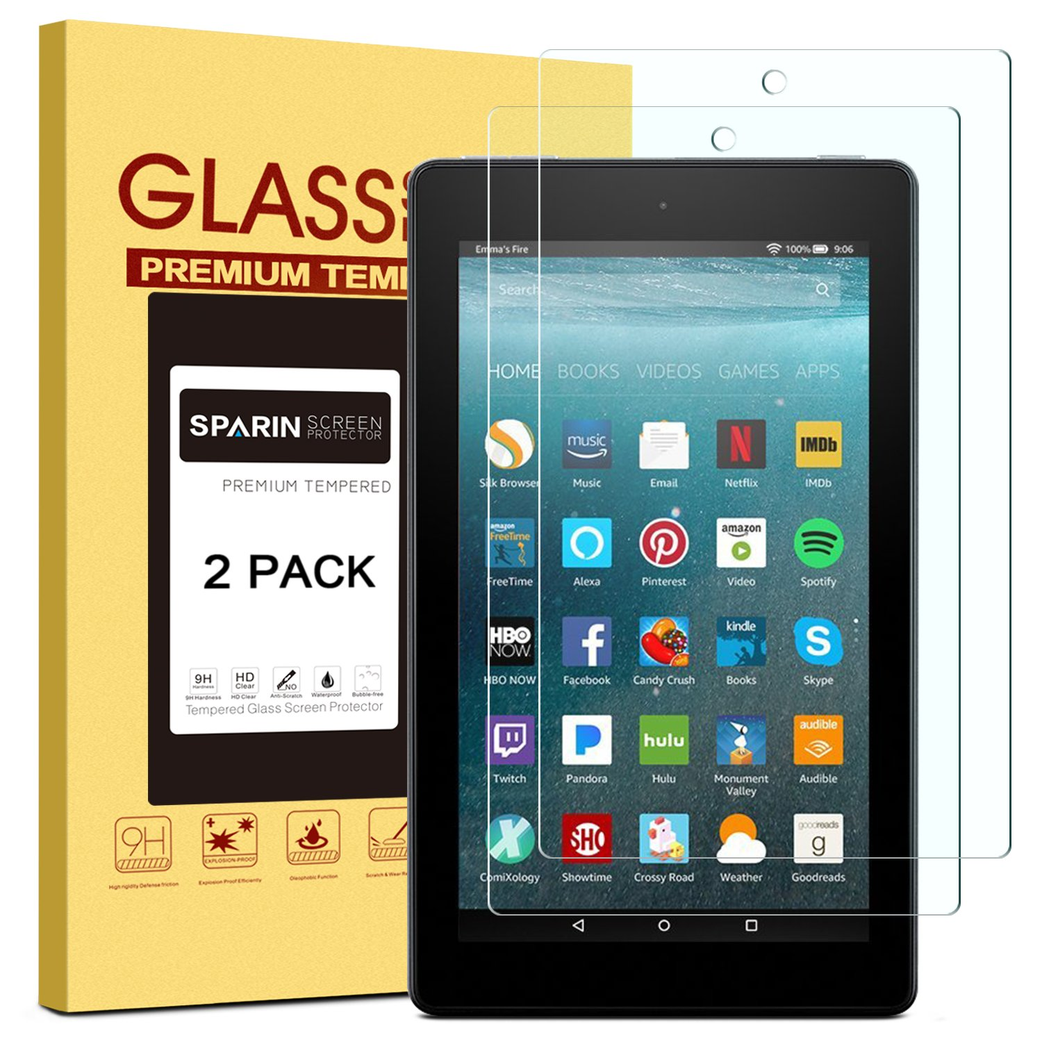 [2 Pack] Fire 7 / Fire 7 Kids Edition Screen Protector, SPARIN Tempered Glass Screen Protector for All-New Fire 7 (9th/7th Gen, 2019/2017 Release) with Bubble Free/Scratch Resistant