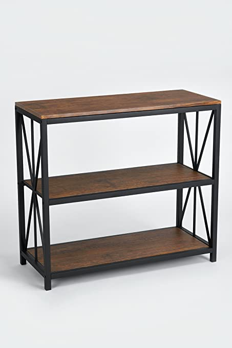 Dark Coffee Black Metal Frame 3 Tier Console Table Bookcase Bookshelf